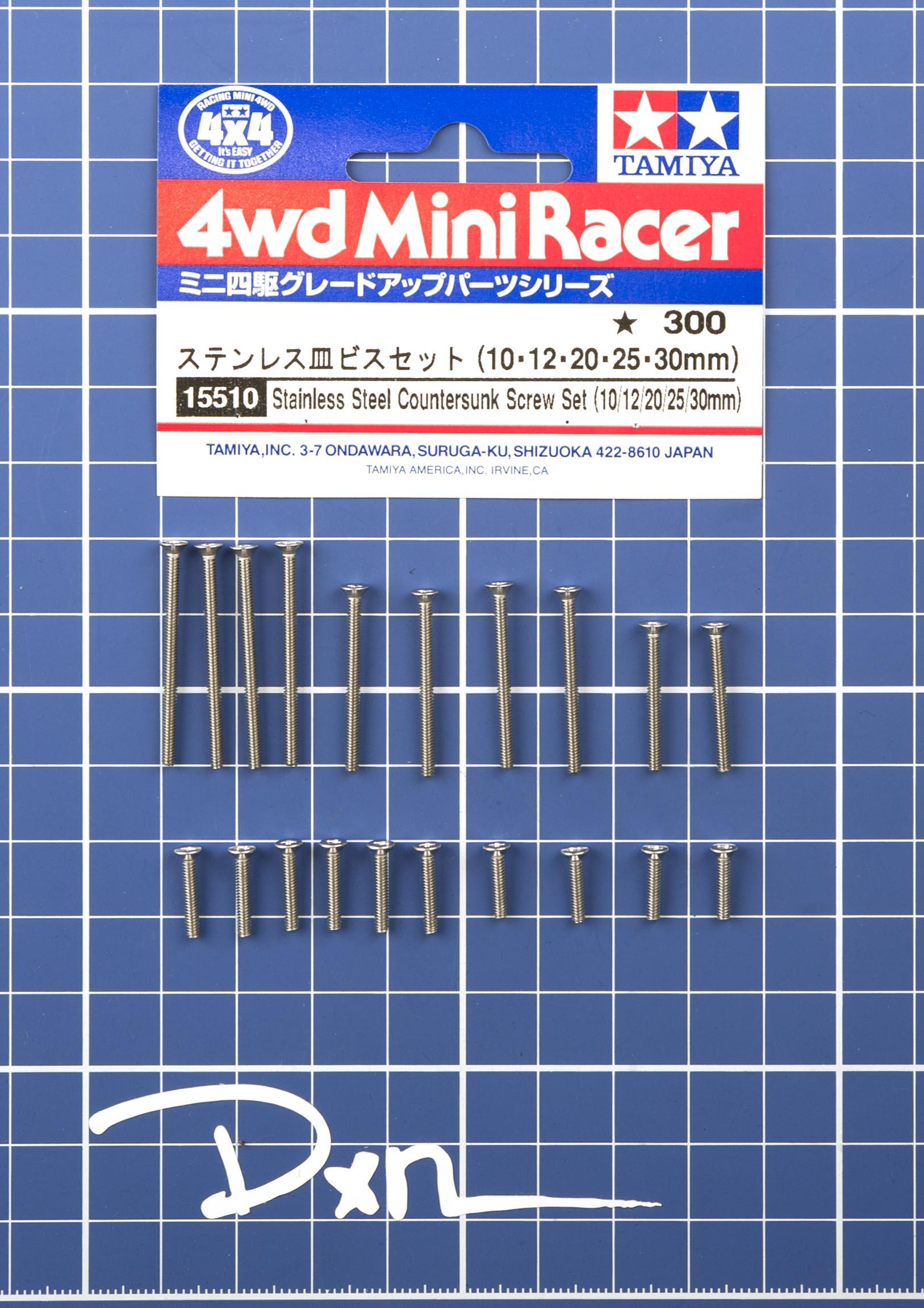 Tamiya 15510 Mini 4WD Stainless Steel Countersunk Screw Set 10,12,20,25,30 mm